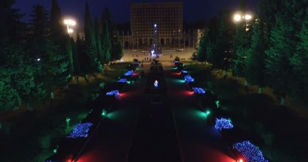 sukhumi, abchasien-januar 7, 2018: parkallee in der weihnachtlichen beleuchtung in der nacht.