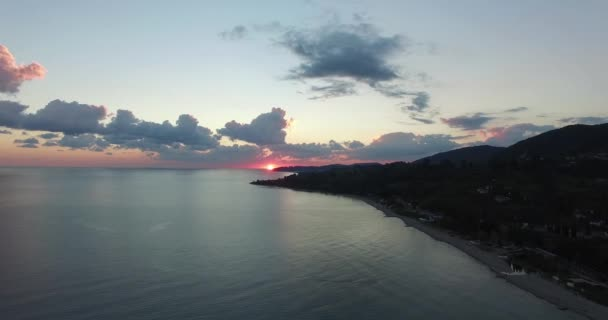 Cinemagraph-seascape with a dramatic sunset over the sea. New Athos, Abkhazia.