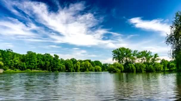 Zöld Urban Park parkosított tó, fák és kék Sky.