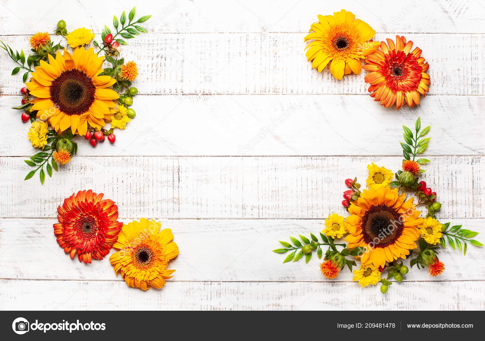 Beautiful Autumn Flowers Berries White Wooden Background Top View