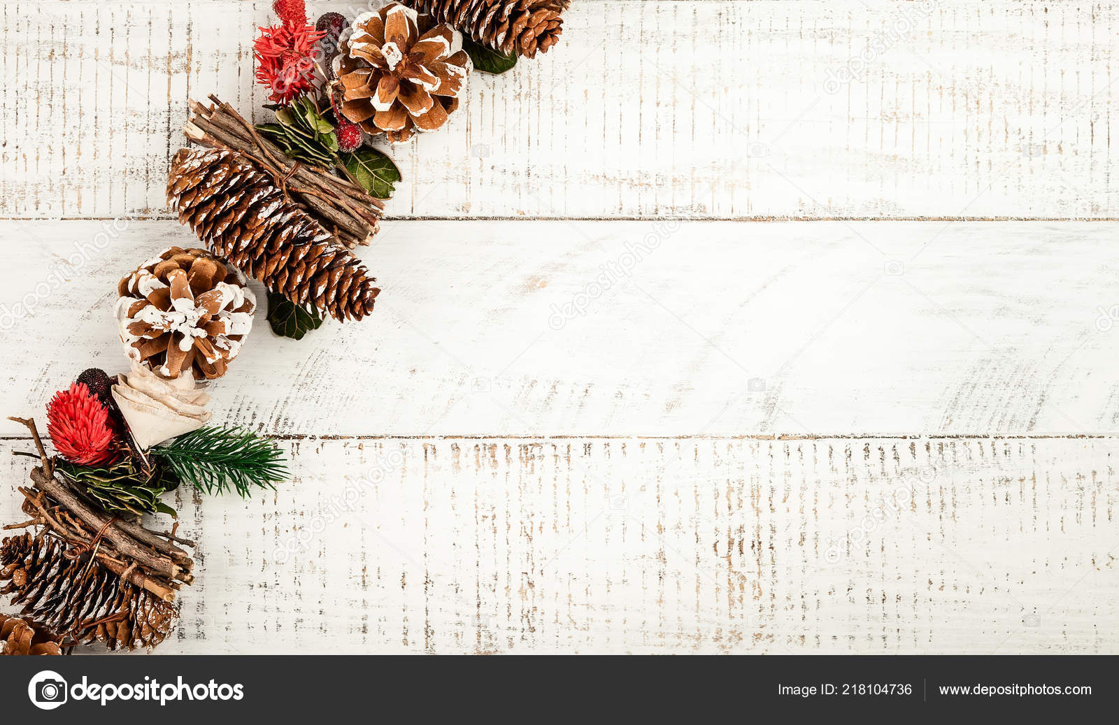 Winter Background Rustic Christmas Garland Using Pine Cones Dried