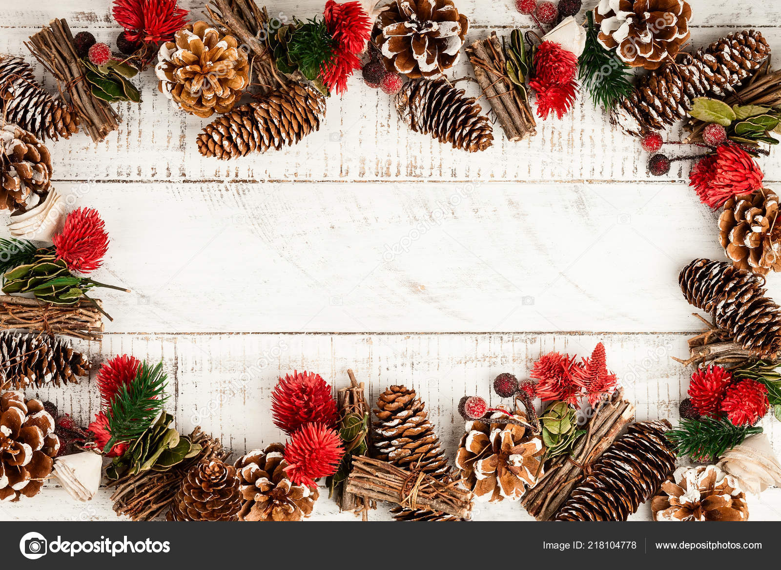 Winter Background Rustic Christmas Garland Using Pine Cones Dried Leaves Stock Photo Image By C Sarsmis 218104778