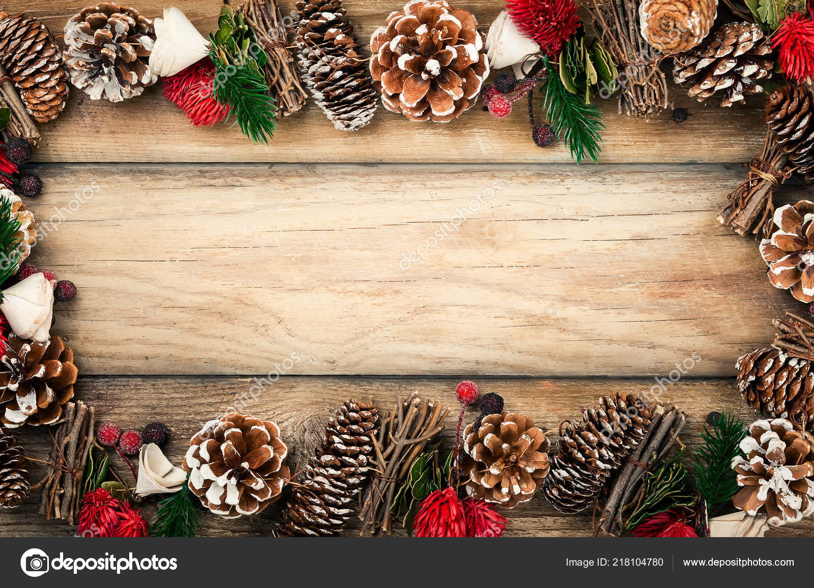 Winter Background Rustic Christmas Garland Using Pine Cones Dried Leaves Stock Photo Image By C Sarsmis 218104780