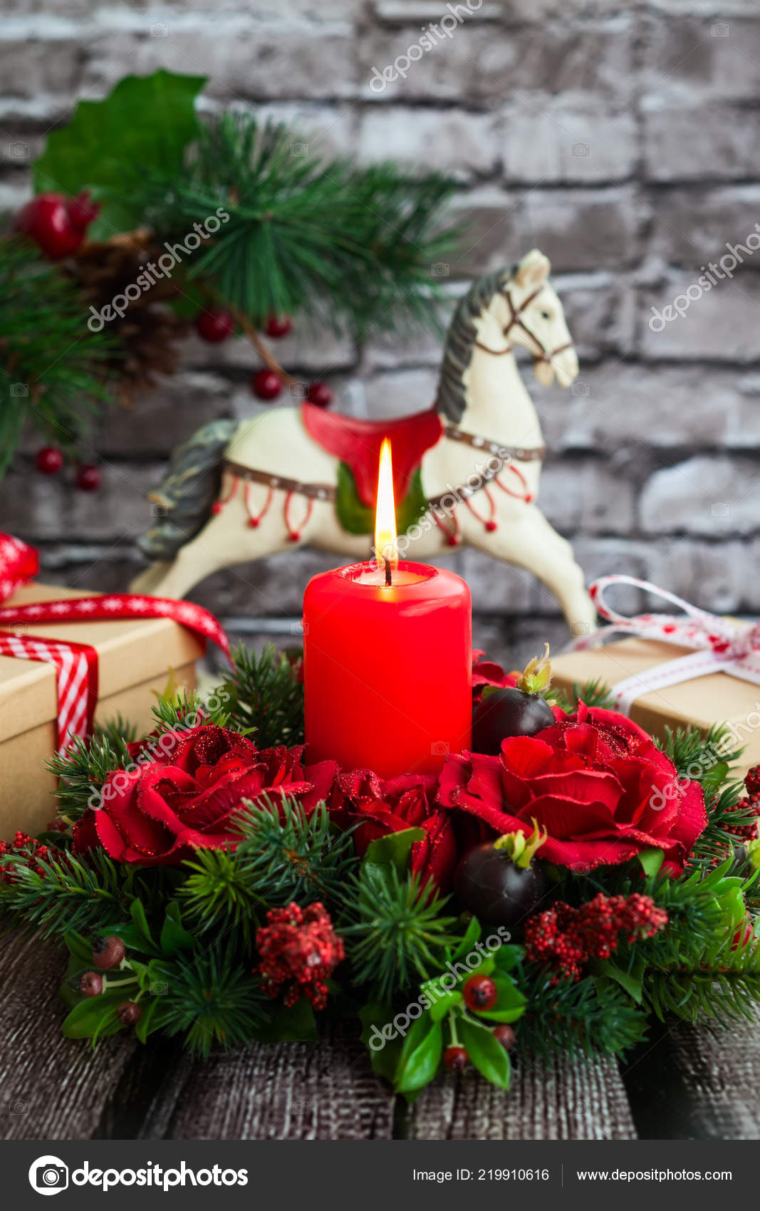 Christmas Decorations Red Candle Gift Boxes Rocking Horse Old Wooden — Stock Photo