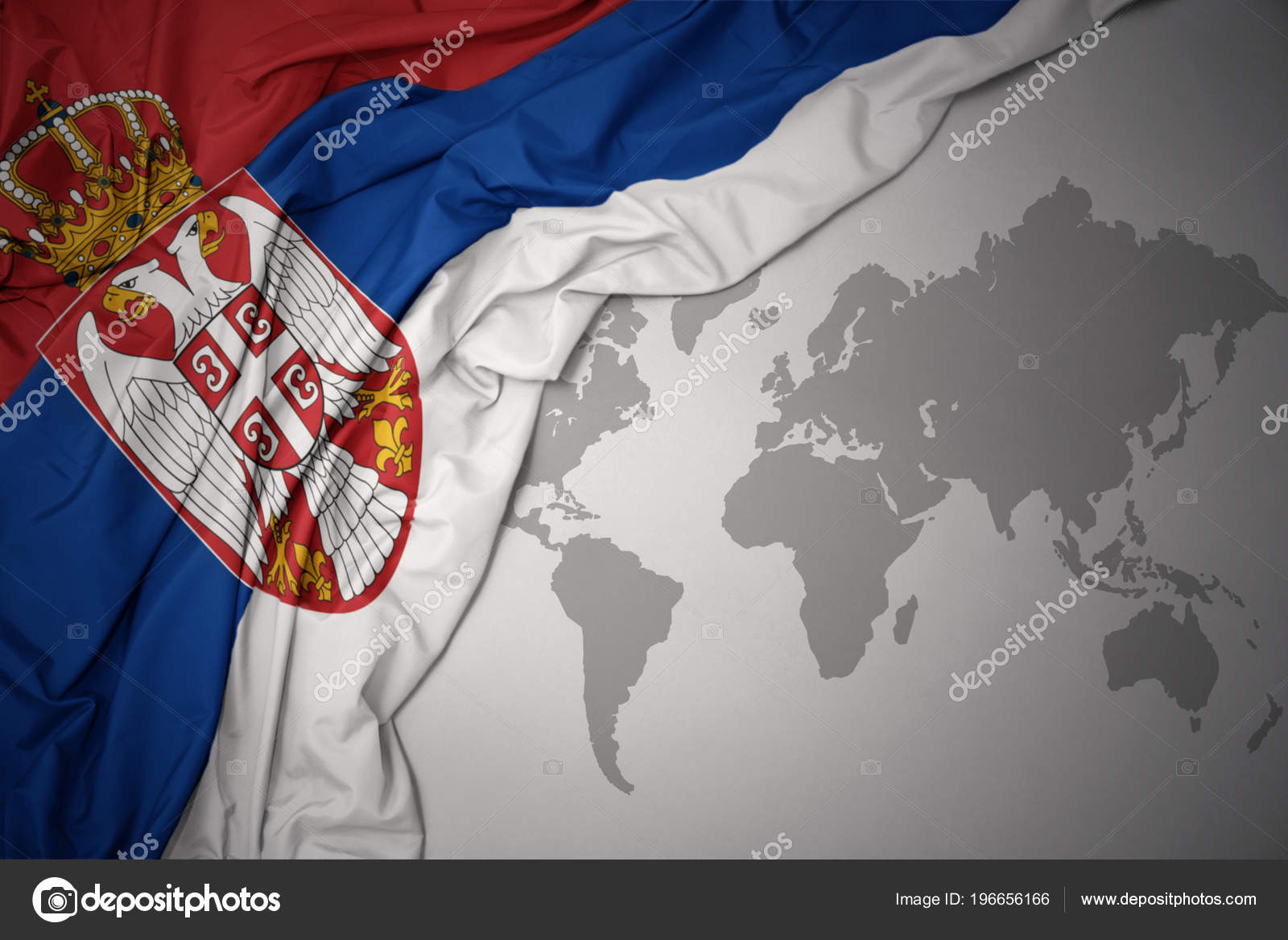 Waving colorful national flag serbia gray world map background waving colorful national flag serbia gray world map background foto de stock gumiabroncs Image collections