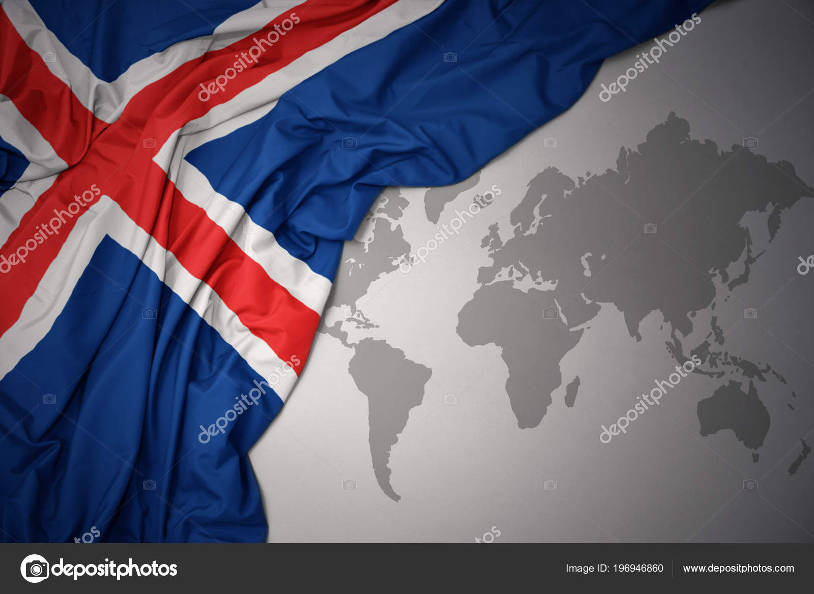 Waving Colorful National Flag Iceland Gray World Map ... on iceland road map, iceland in the world map, iceland map with main rivers names, 3d iceland map, scandinavia denmark sweden norway map, iceland light show in january, iceland on a map, iceland reykjavik city center, north sea map, iceland on europe, iceland points of interest maps, iceland location in the world, iceland on the globe, iceland on us map, europe and siberia map, new zealand world map, iceland map europe, reykjavik iceland on map, iceland political map, mediterranean sea map,