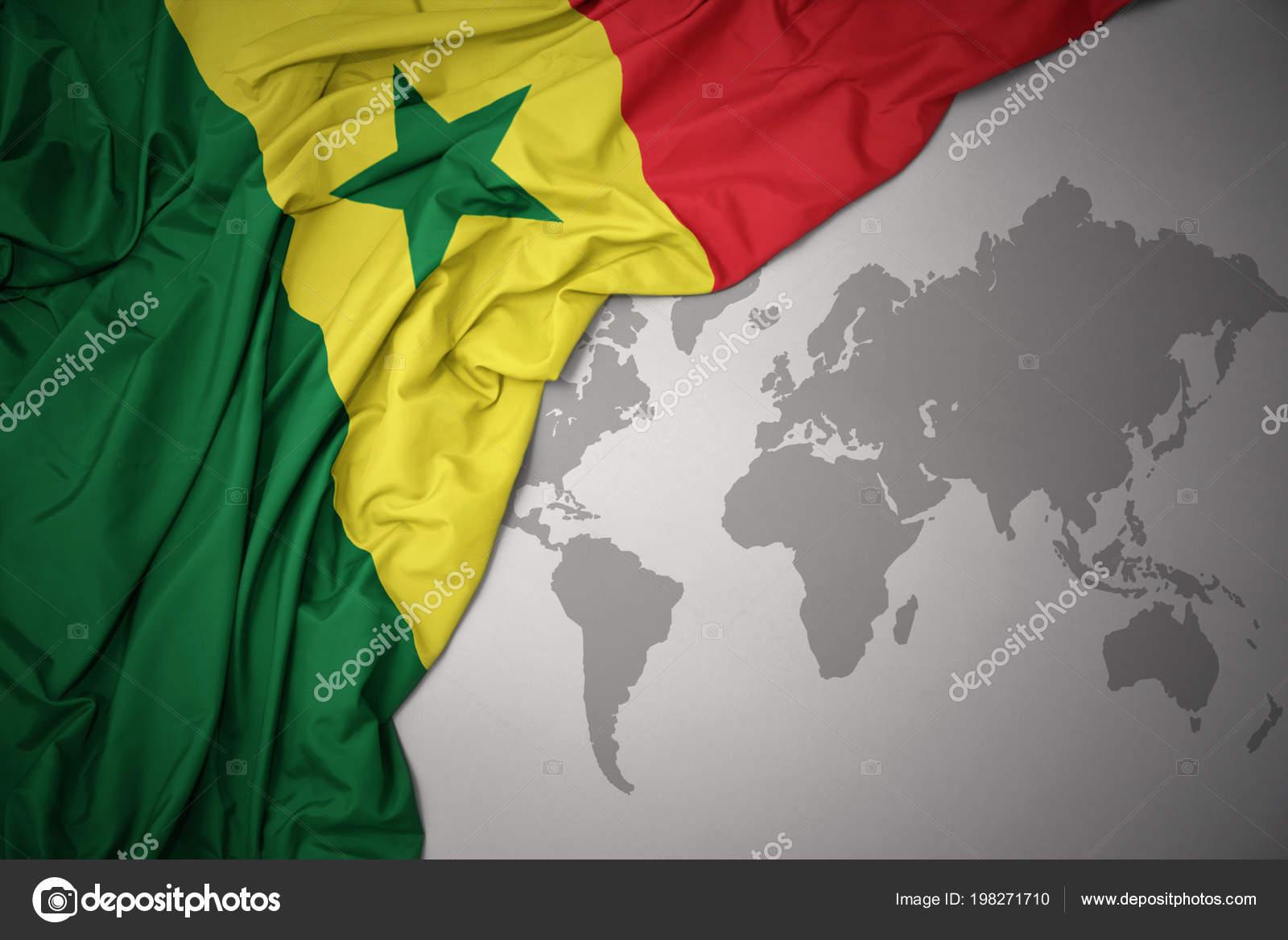 Waving Colorful National Flag Senegal Gray World Map ... on