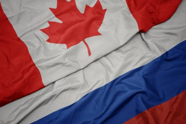 waving colorful flag of russia and national flag of canada.