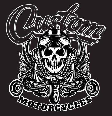 Vector monochrome image with skulls, motorcycles, wings, engine and Calligraphic inscription