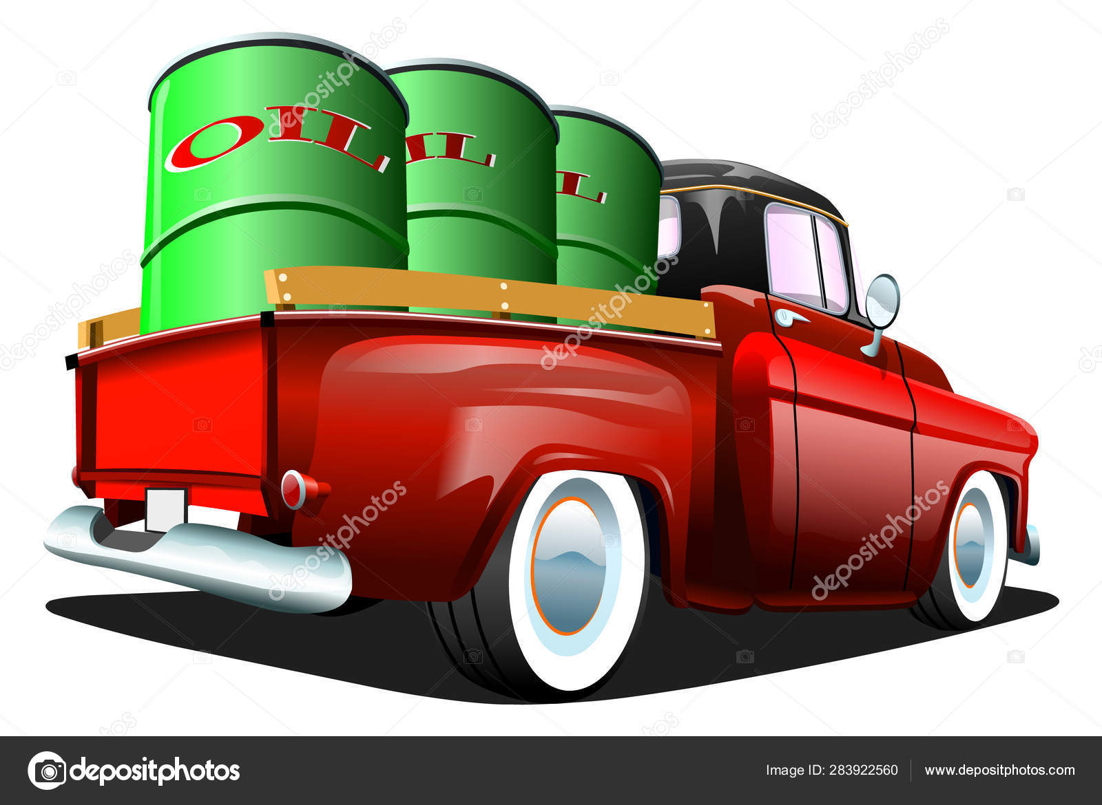 Cartoon Red Retro Truck Pickup Car White Background Esp