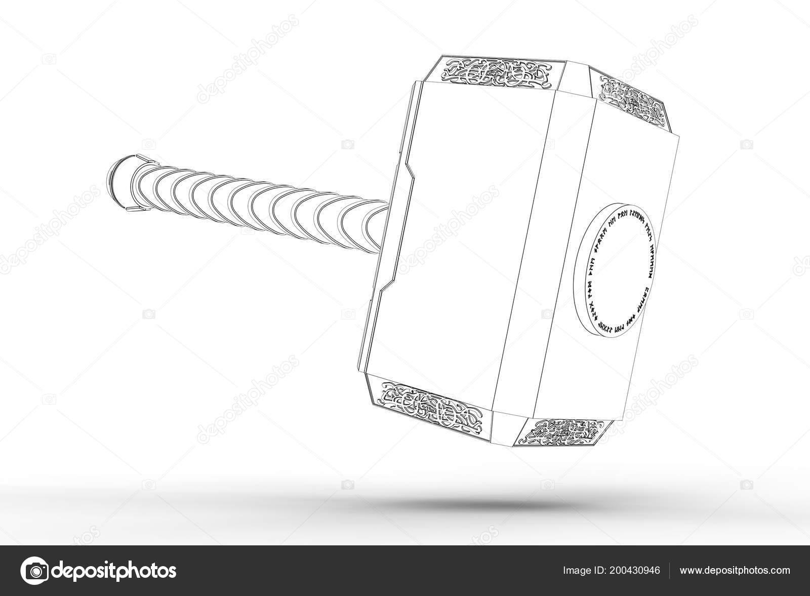 Illustration Thor Hammer Isolated White Stock Photo C Ildarss