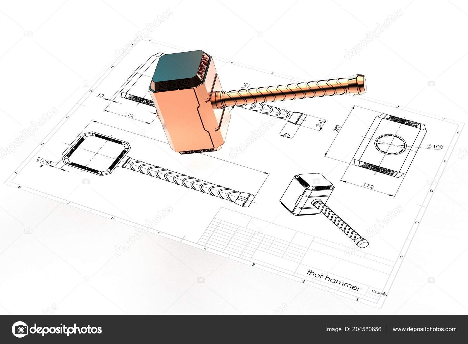 Illustration Thor Hammer Engineering Drawing Stock Photo