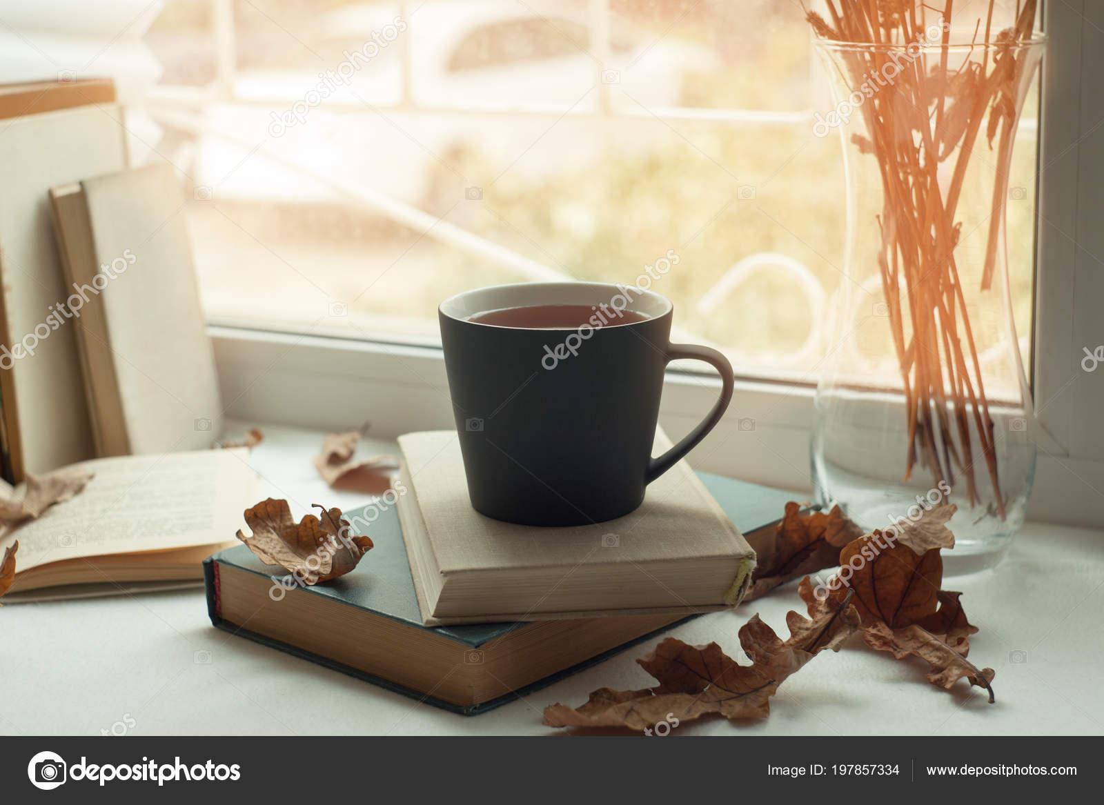 Cozy Window Autumn Leaves Book Mug Tea Time Read Autumn Stock Photo By C Misskaterina54 197857334 Wallpaper tea cup book garlands leaves