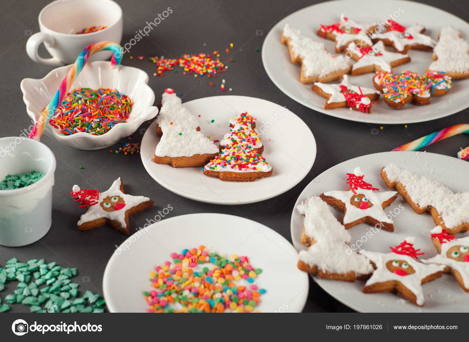 Creative Christmas Cookies White Plate Concept New Year Chrismas
