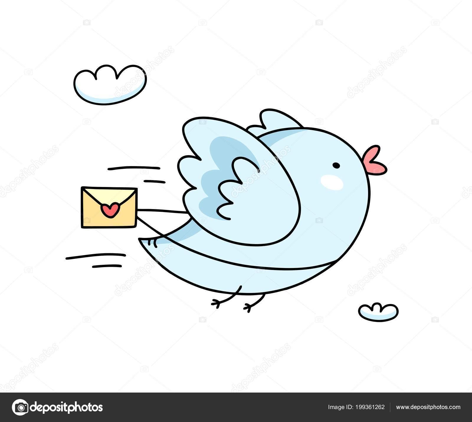 Imagenes Aves Animadas Tiernas Lindo Pajaro Azul Volando Con