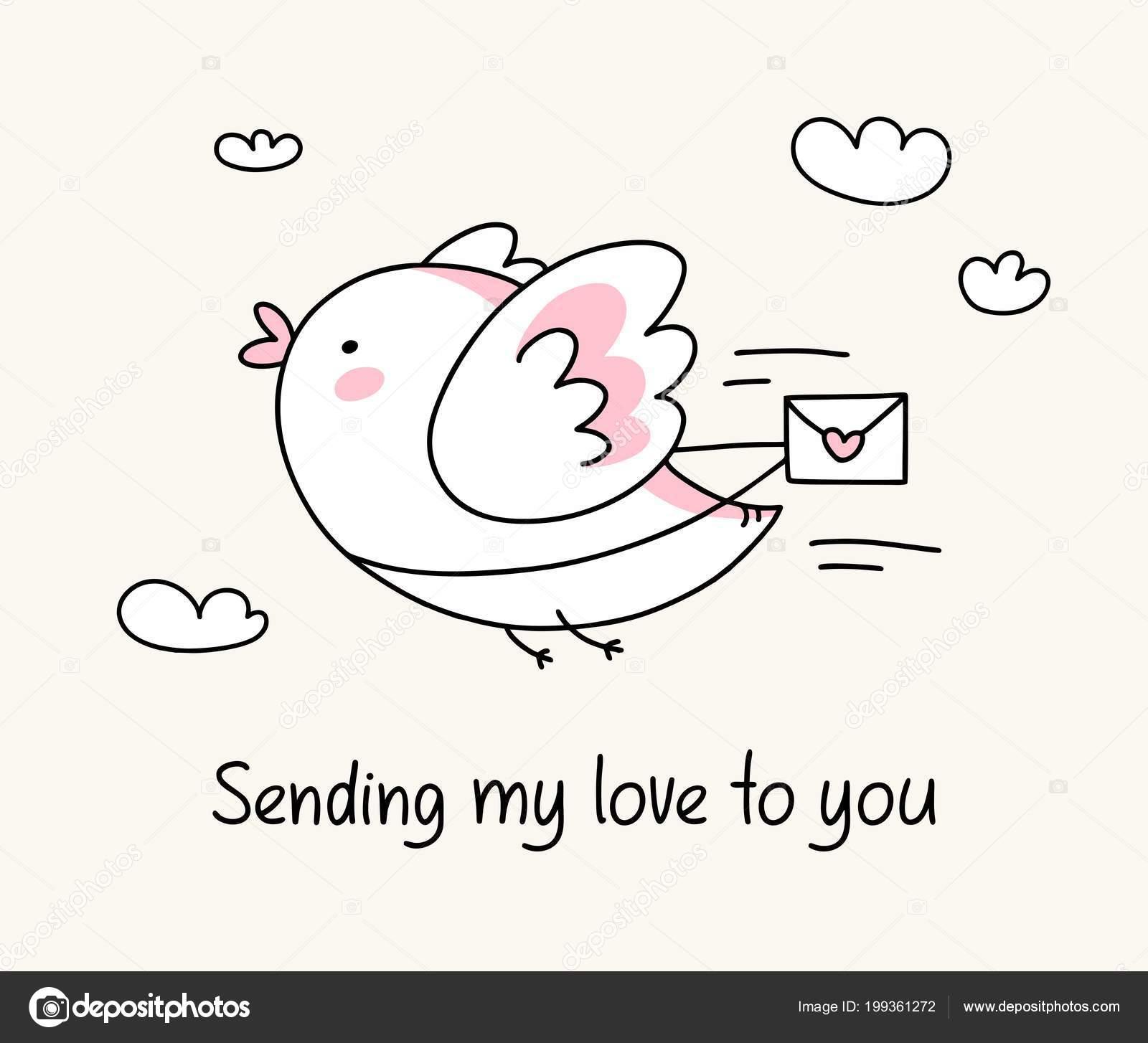 Meine Liebe Senden Grusskarte Mit Lustigen Vogel Mit Liebesbrief
