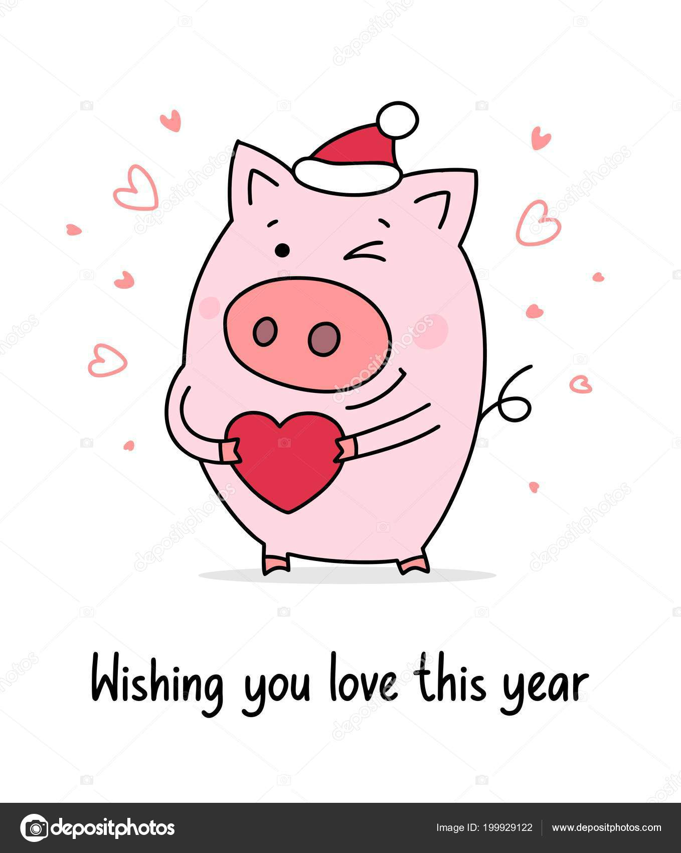 Happy New Year Poster Funny Pig Holdes Red Heart Celebration — Stock ...
