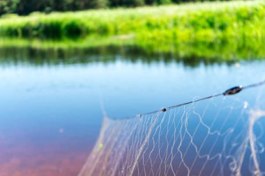 Fishing net. Poaching. Place for your text.
