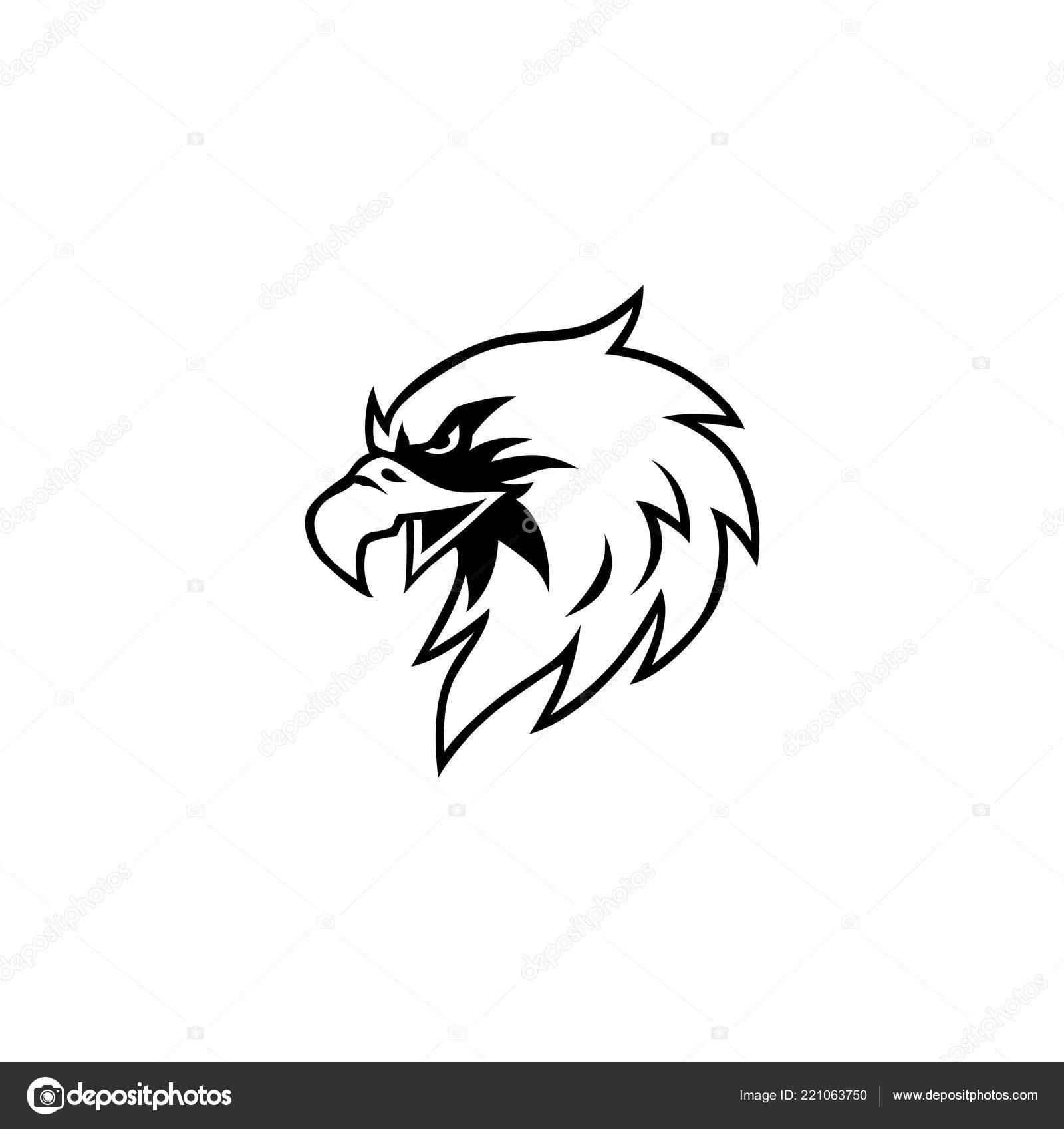 Preto Branco Águia Cabeça Logo Vector Design Sign Ícone