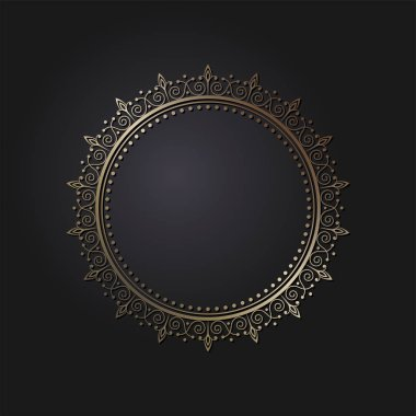 Decorative round frame for design with abstract floral pattern. Circle frame. Template  Vector.