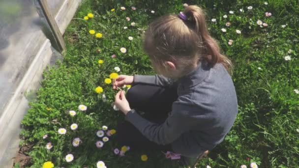 Little girl playing with flowers
