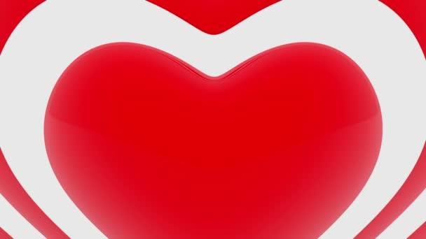 Červené srdce obrysy na bílém