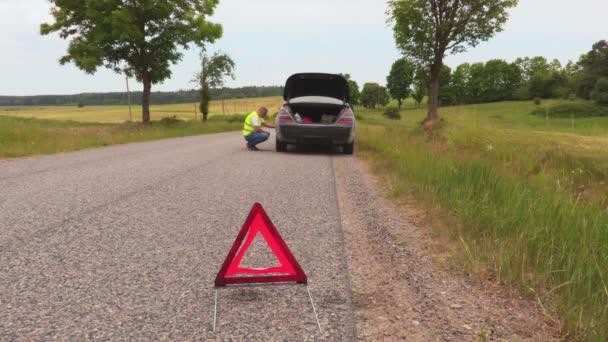 Man near broken car on road