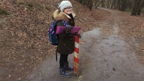Little girl with backpack and folder on park path near school