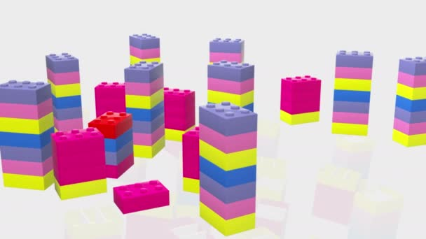 Towers of colorful toy bricks