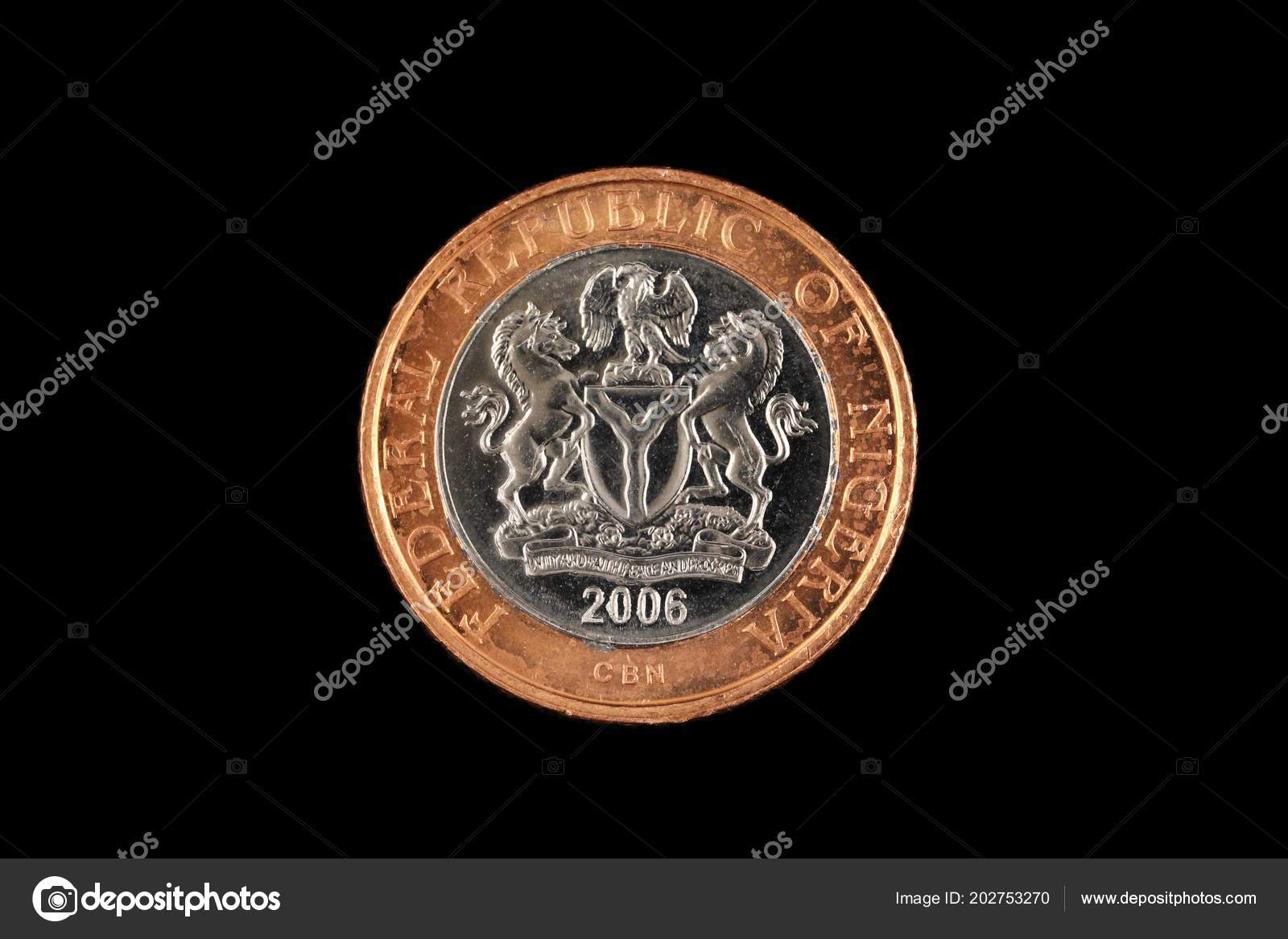 Close Image Nigerian Bimettalic Two Naira Coin Isolated Black