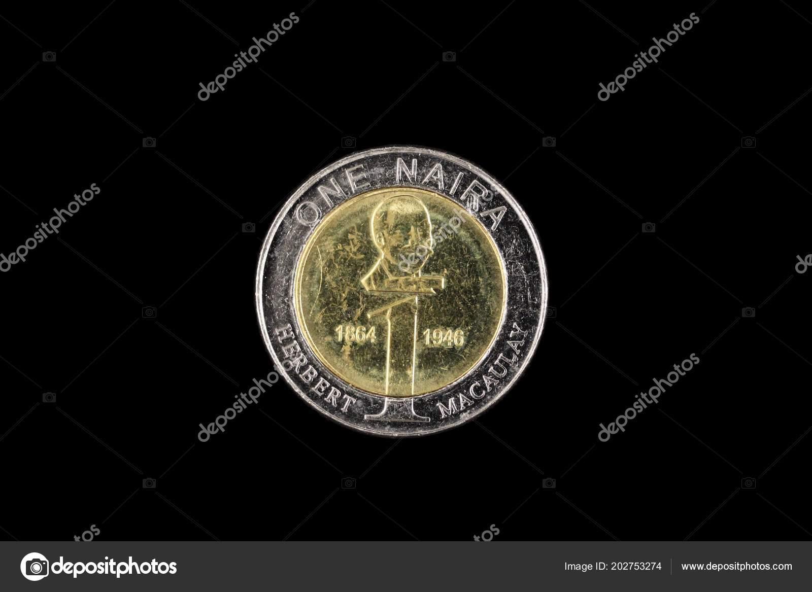Close Image Nigerian Bimettalic One Naira Coin Isolated