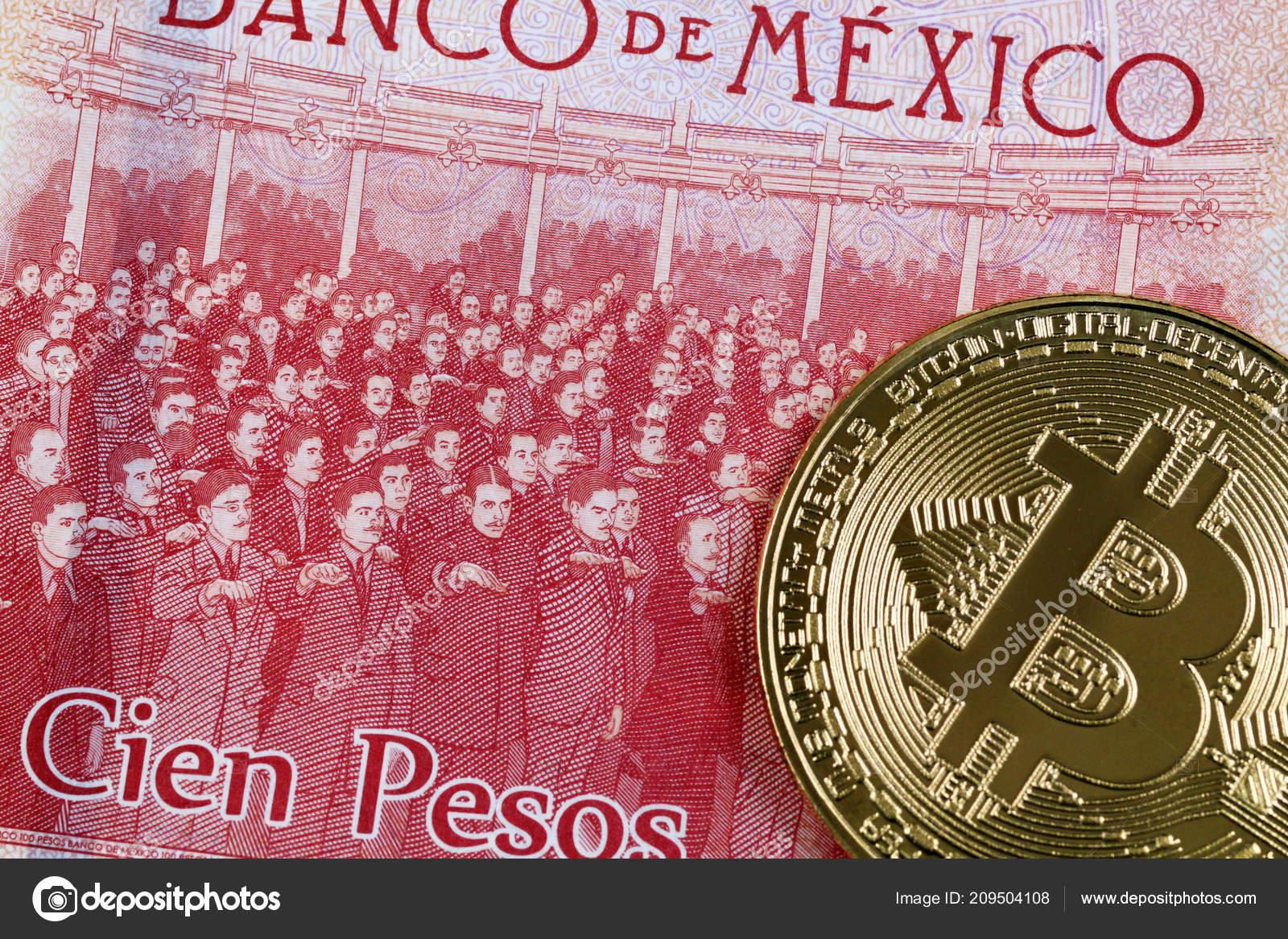 Gros Plan Photo Billet Banque Peso Mexicain 100 Avec Bitcoin — Photo ... 8b4cd1c1ac5