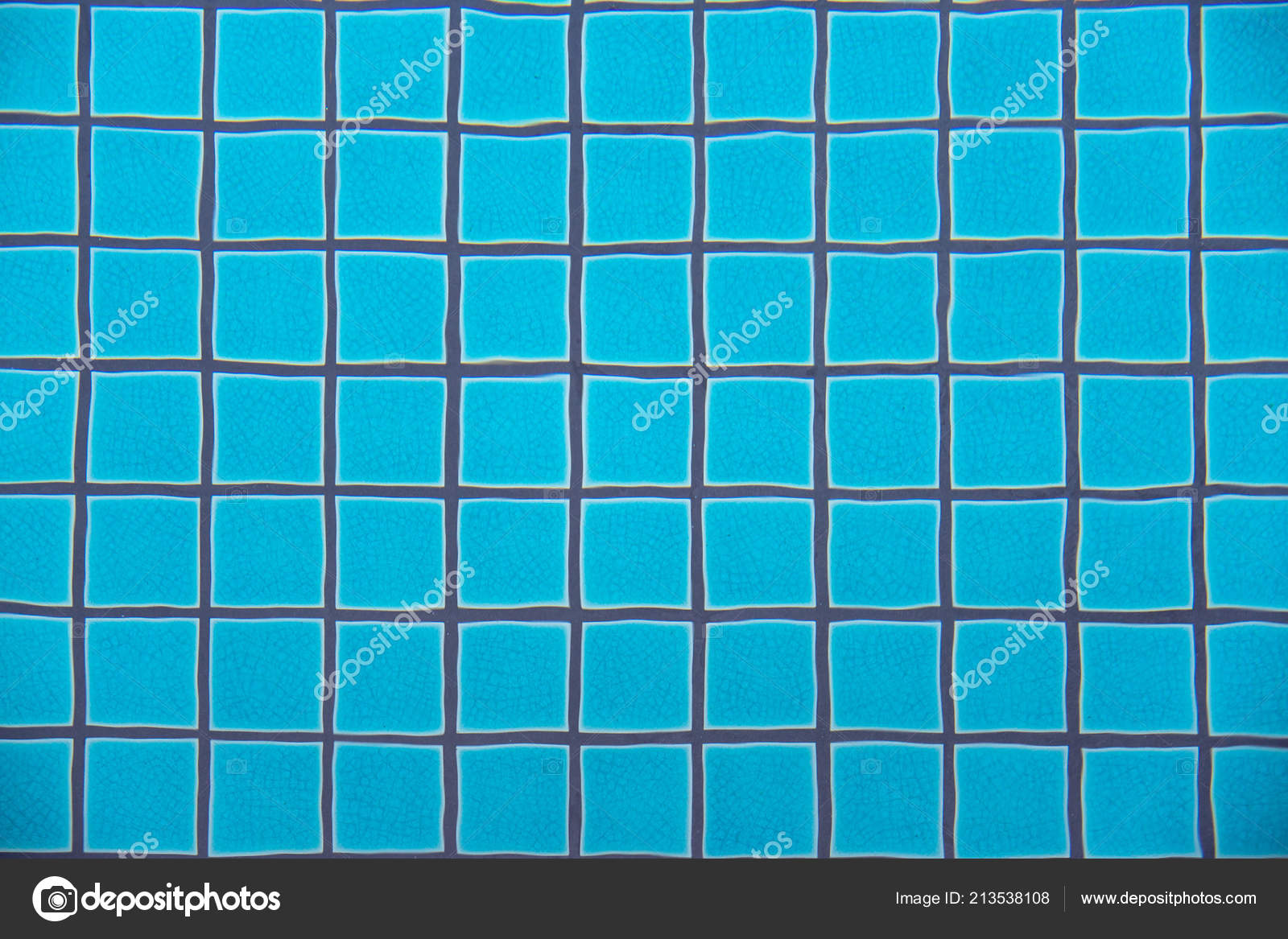 Swimming Pool Clear Water Showing Turquoise Blue Clay Square ...