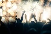 Dav s pobledlém ohňostroj - novoroční koncept