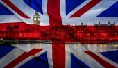názorově koncepce - vlajky a Londýn dvojitá expozice
