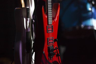 retro guitars in stage lights