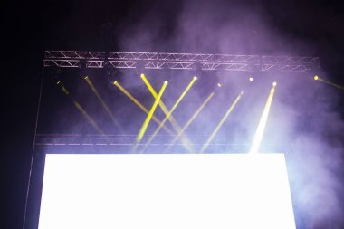 empty white board with copy space and stage lights - banner for