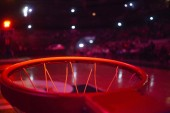 Fotografia basketball hoop in red neon lights in sports arena during game