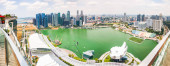 SINGAPORE, SINGAPORE - MARCH 2019: Aerial view over Singapore fr