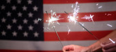 Photo sparkles in front of  American flag