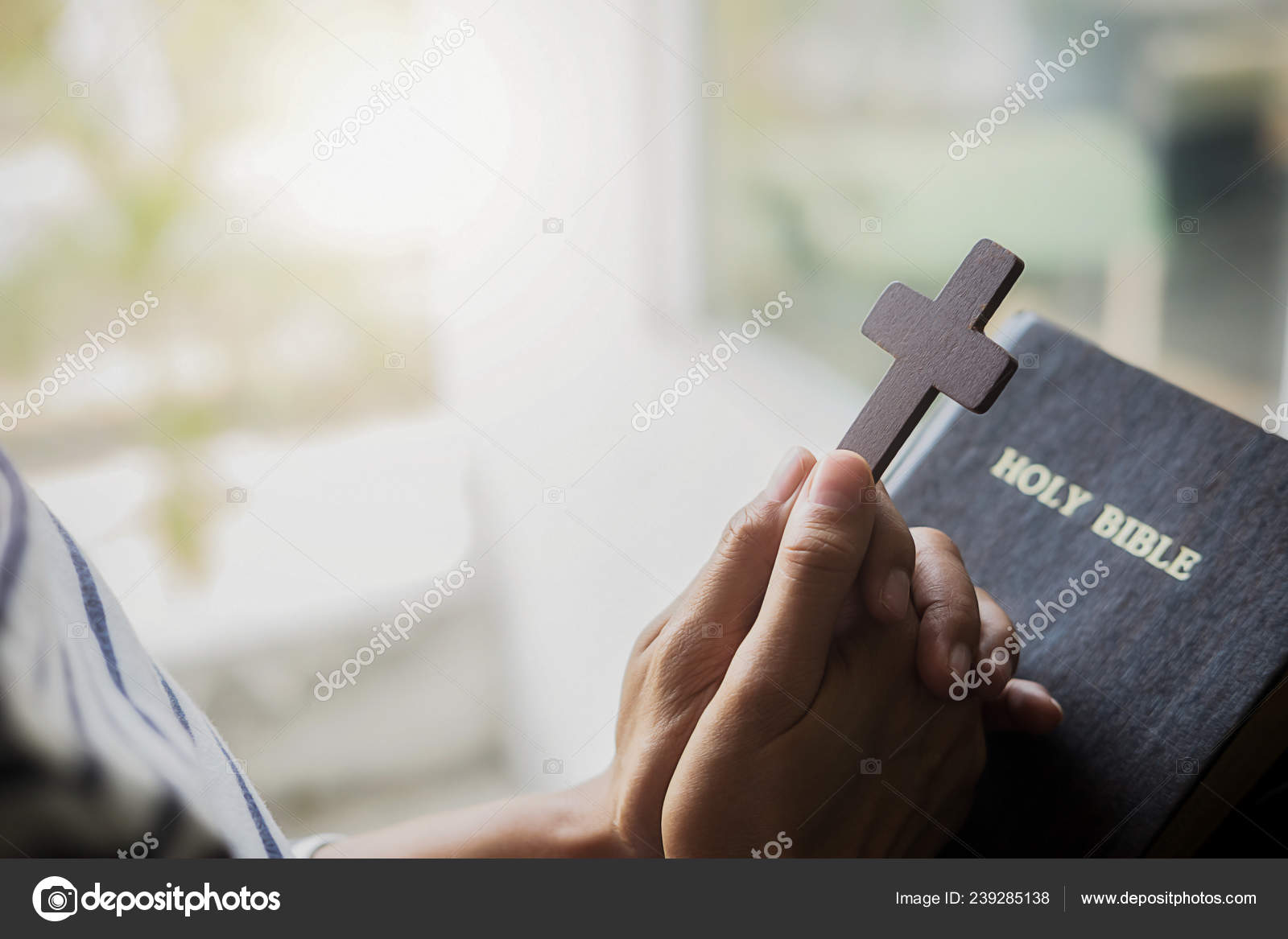 Christian Woman Praying Holy Bible Hands Folded Prayer Holy