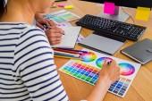 Fotografie Grafikdesign mit Farbmustern und Tablet auf einem Schreibtisch. Grafik