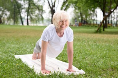 smiling elderly woman doing plank on yoga mat on lawn