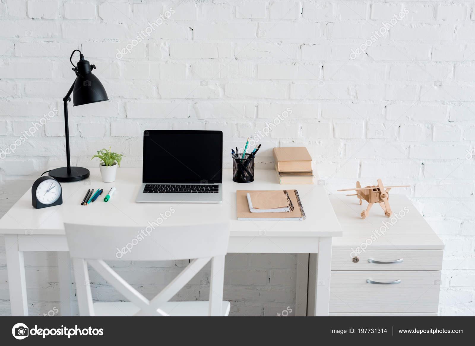 Work Desk Laptop Home Front White Brick Wall Stock Photo