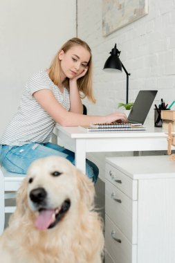 thoughtful teen student girl doing homework with her golden retriever on foreground