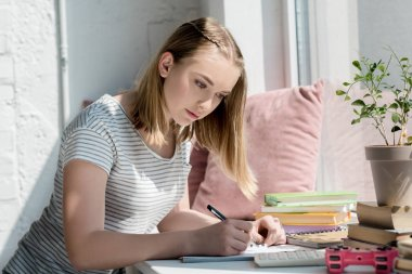 focused teen student girl doing homework on windowsill