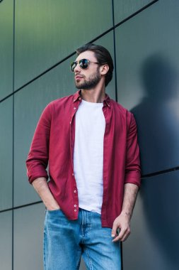 low angle view of stylish young man in sunglasses standing near wall