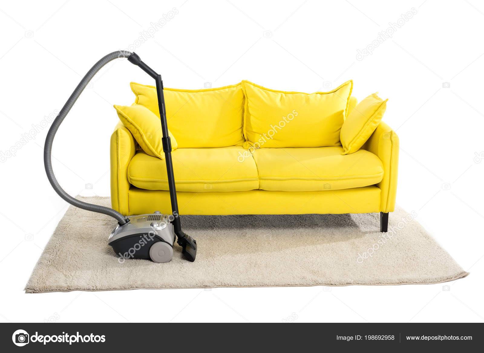 Bright Yellow Sofa And Vacuum Cleaner On Carpet Isolated On White U2014 Photo  By IgorVetushko