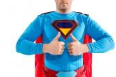 Fotografie Schuss von zuversichtlich Superheld zeigt Daumen hoch isoliert auf weiss beschnitten