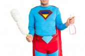 Fotografie cropped shot of man in superhero costume holding duster and spray bottle isolated on white